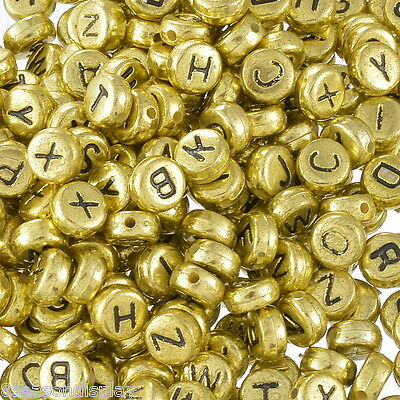 500PCs Mixed Alphabet Letter Acrylic Spacer Beads 7mm Gold & Black