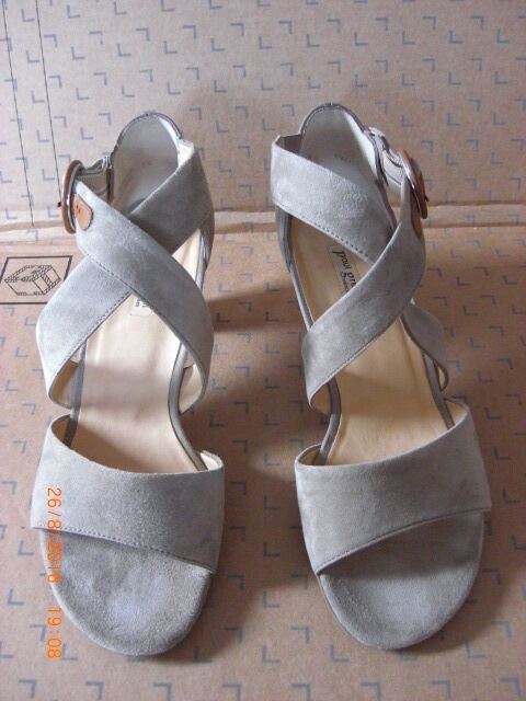 Paul Paul Paul Green Taupe Suede Strappy Sandal Wood Heel shoes UK 5.5 EU 38.5 US 8 e6f4ef