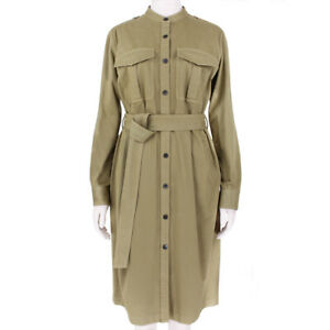Dries-Van-Noten-Khaki-Belted-Waist-Safari-Shirt-Dress-FR38-UK10