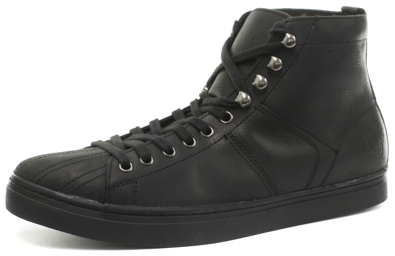 New Grinders Max Black Unisex Trainer Style Mid Cut Leather Upper Lace Up Shoes