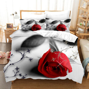 3d A Bright Red Rose Bedding Set Duvet Cover Comforter Cover Pillowcase Gift Ebay
