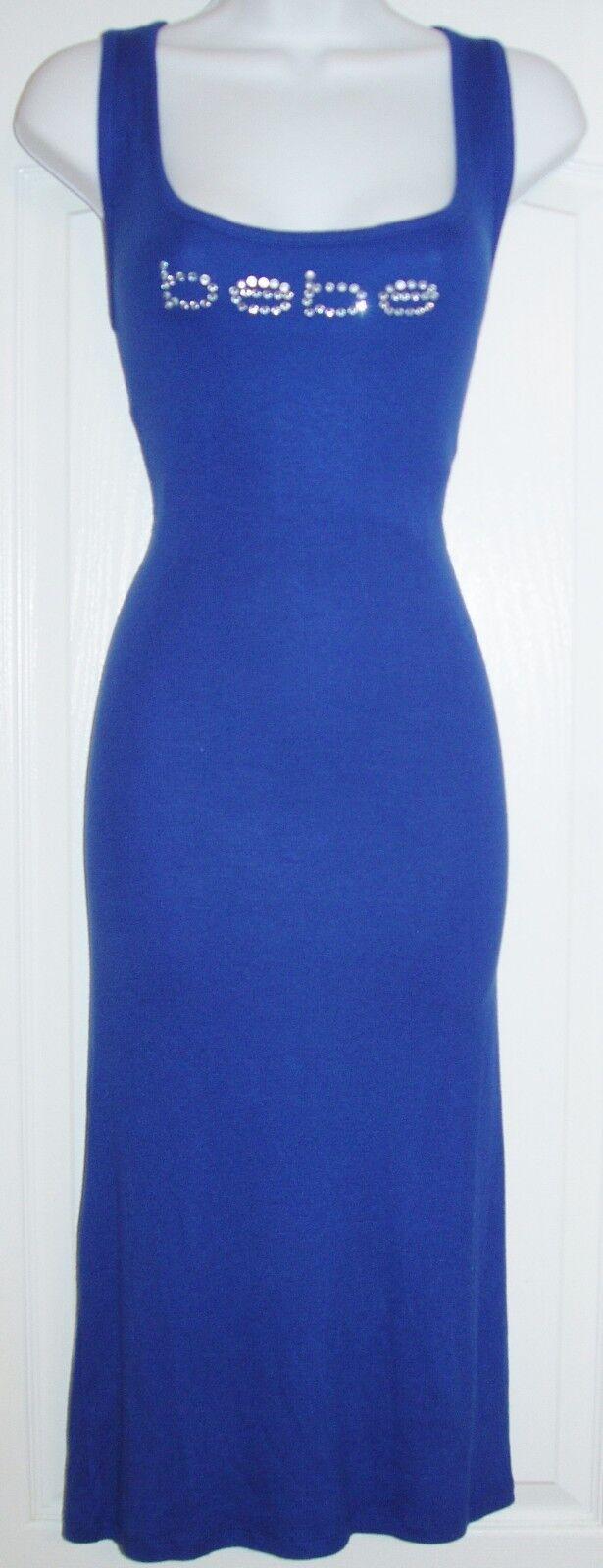 BEBE WOMEN'S SWAROVSKI CRYSTAL RHINESTONE blueE TANK DRESS SIZE STRETCHY XL NWT