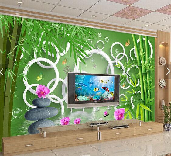 3D Bamboos Stones 768 Wall Paper Murals Wall Print Wall Wallpaper Mural AU Lemon