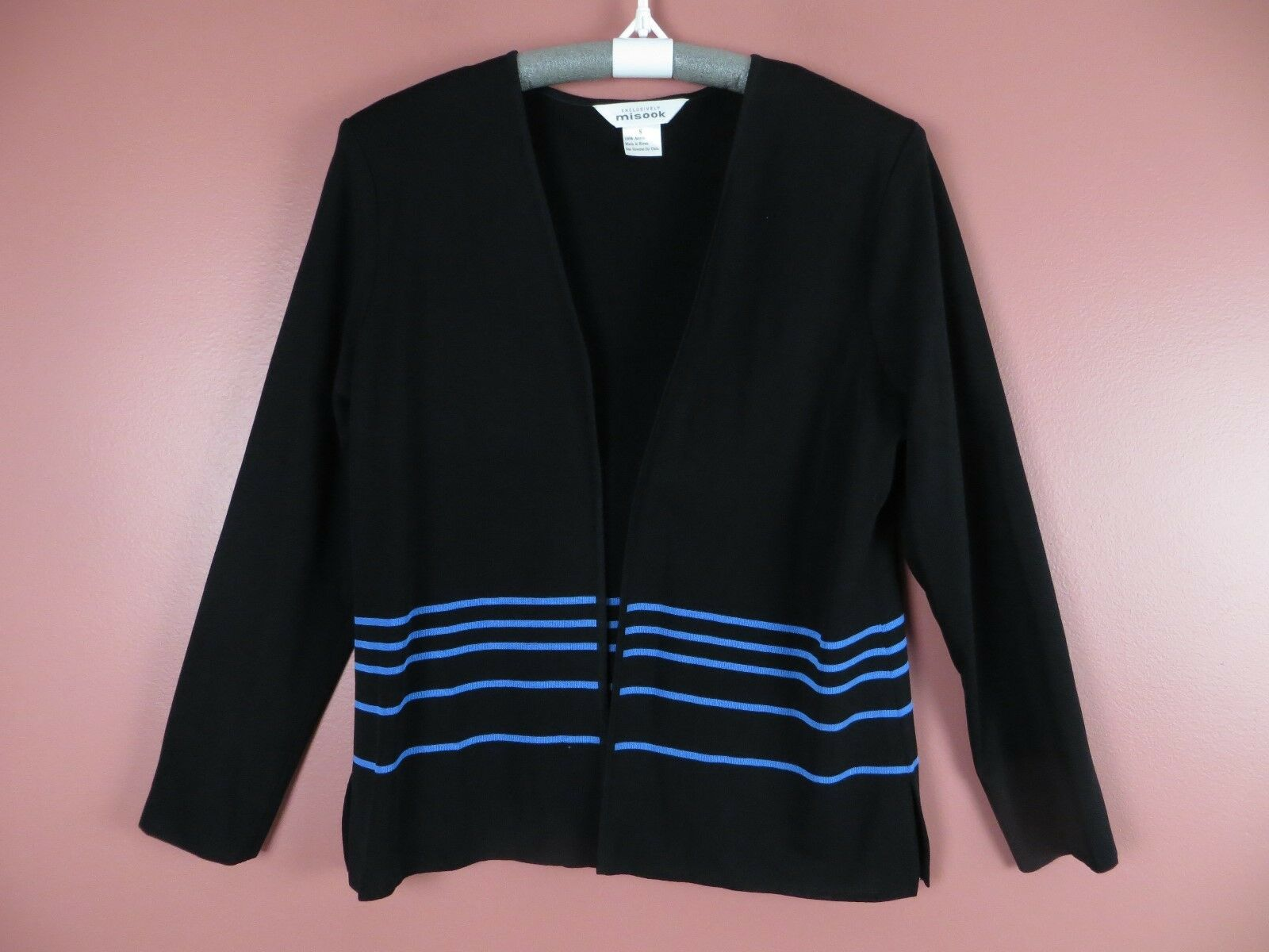 TB04409- EXCLUSIVELY MISOOK Woman Stretch Knit Open Front Cardigan schwarz Blau S