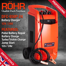 Car Battery Charger Heavy Duty 12V & 24V Trickle / Fast, Vehicle HGV Lorry, ROHR
