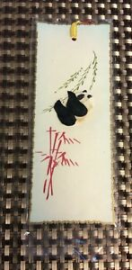 Details about Vintage Japanese Style Bookmarks Panda Bear Feather Bamboo