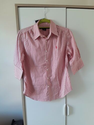 Manche Red Stripe Us Ralph Short Lauren Womens Shirt Sport 10 vaXaBwqY