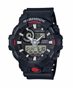 Casio G-Shock GA700-1A Black Wristwatch for Men with Red Front Button