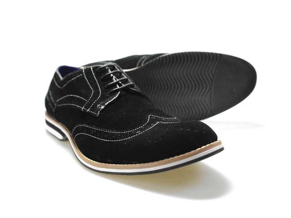 Gucinari C019 05 Mens Black Suede Formal Brogue shoes Free UK P&P