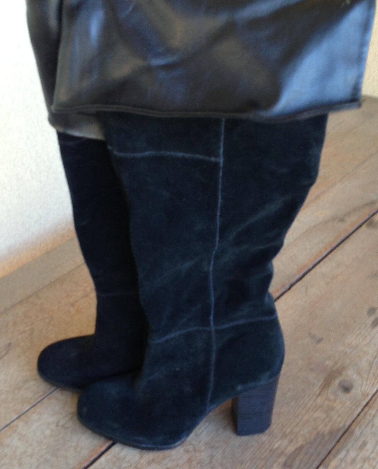 Se Boutique Overknee Schwarzes Damen Veloursleder Piraten Stiefel 8 Damen Schwarzes Zip Innen f96da2
