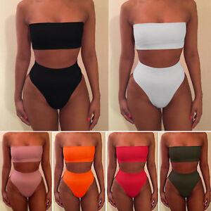 69a9a35f17d14 Image is loading Women-High-Waisted-Bikini-Set-Strapless-Bandeau-Swimwear-