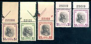 USAstamps-Unused-VF-US-1-5-Hight-Values-Presidential-Scott-832-833-834-OG-MNH