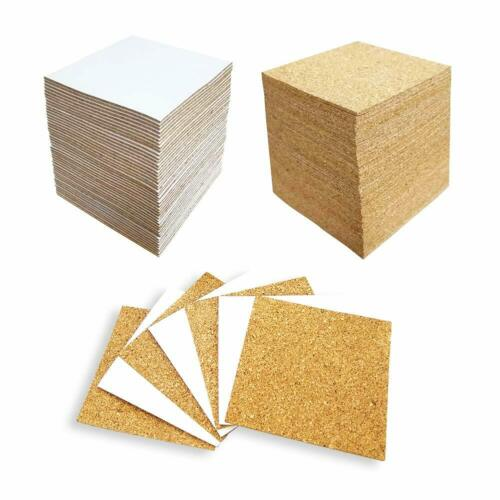 4 X 4 Inches Hangnuo 100 Pack Self-Adhesive Cork Squares for Tile Coasters