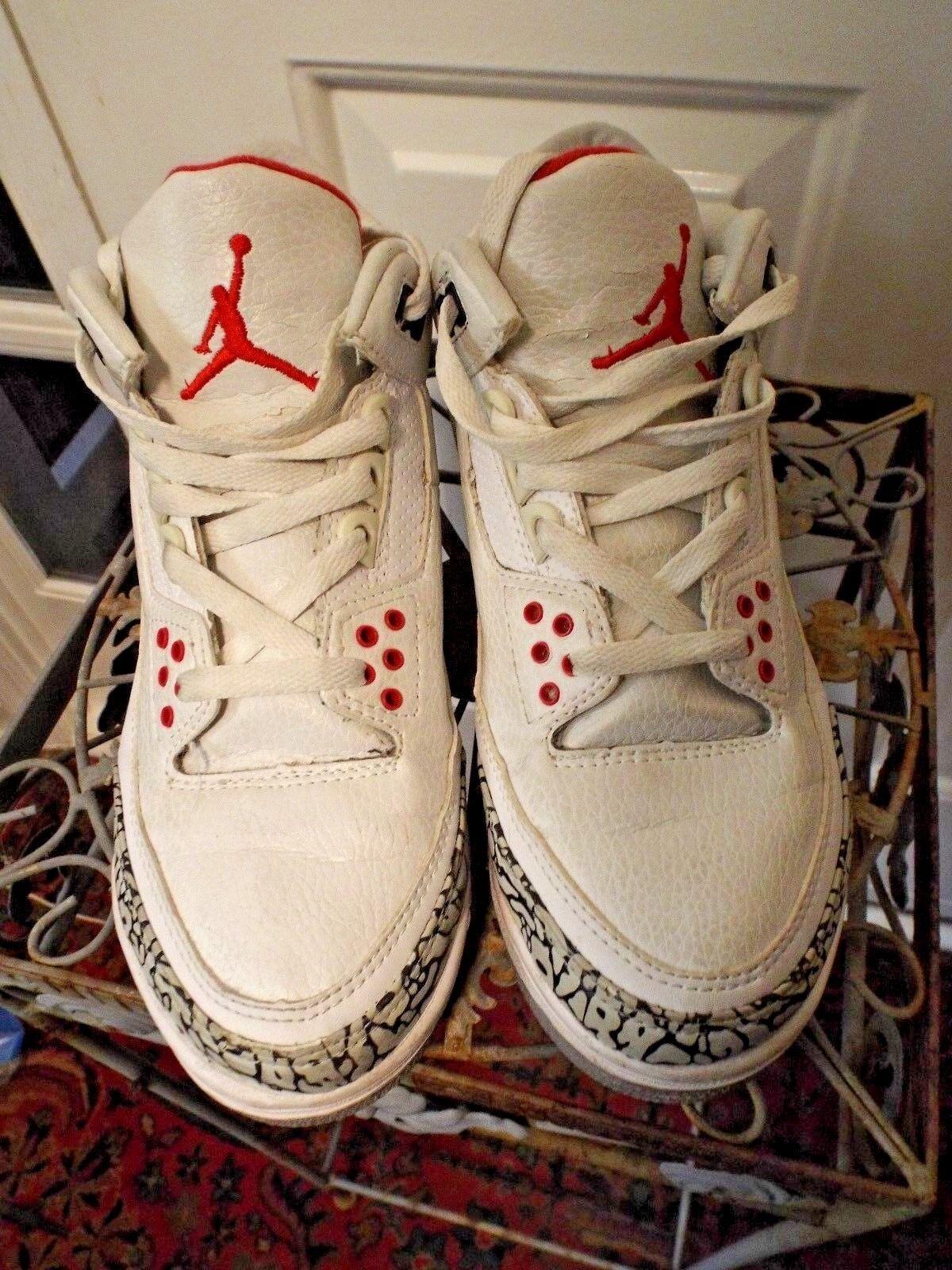EUC  2005 - Nike Air Jordan 3 Retro - Sz 7 -  White Fire Red Silver Nero