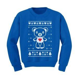 Big White Furry Bear Love - Ugly Christmas Sweater Cute Kids Sweatshirt Xmas