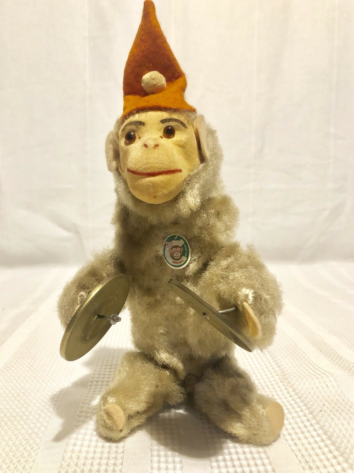 VINTAGE WIND UP TOY MONKEY W  CYMBALS-LABELED MC ORIGINAL WEST GERMANY 1950's