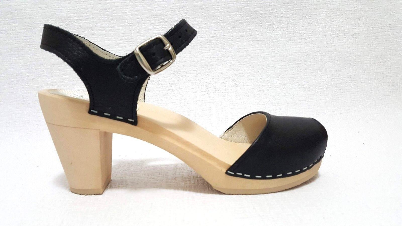 MAGUBA of SWEDEN Bologna WOMEN'S CLOGS WOODEN SANDALS Schuhe BLACK Größe 38