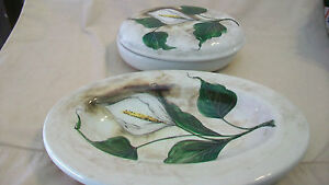 DECORATIVE-HAND-PAINTED-FLOWERS-ON-CERAMIC-PLATTER-AND-BOWL-WITH-COVER