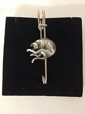 "Stretching Cat R202 Pewter Emblem Kilt Pin Scarf or Brooch 3"" 7.5 cm"