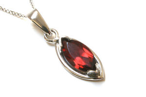 9ct-White-Gold-Garnet-Pendant-Necklace-and-Chain-Gift-Boxed-Made-in-UK-Birthday