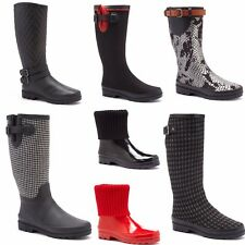 Rain Boots Wellies Woman New Waterproof Canvas Panel Boots Booties NEW