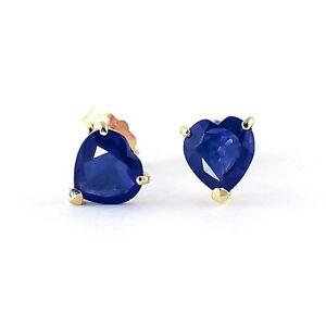 3.00 Karat Natürlich Blauer Saphir Ohrringe 14Kt Gelbgold Herz Solitaire Nieten