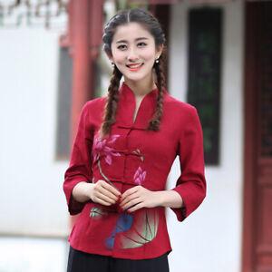 Chinese-Traditional-Tops-Women-Linen-Shirt-Summer-Blouse-Size-M-4XL