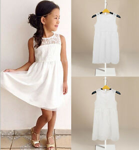 ef6394bda700 Kids Girls Toddler Baby White Lace Princess Party Dresses Skirt ...