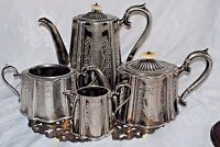 ANTGc1890's SILVER PLATE TEA SET 4 PCS JAMES DIXON & SONS JD&S SHEFFIELD ENGLAND