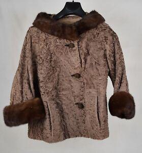 Vintage-Womans-Brown-Mink-Fur-Collar-Cuffs-Coat-Jacket-Label-Authrity-M