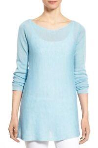 NWT-EILEEN-FISHER-Organic-Linen-RoundNeck-Sweater-top-Windflower-Blue-PS