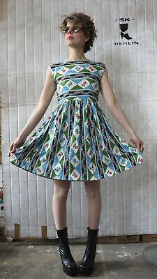 Donna Vestito Sottoveste Abito Estivo Rose Rockabilly 60er True Vintage Dress Roses-mostra Il Titolo Originale Originale Al 100%