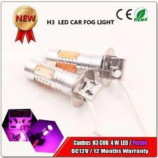 2X New H3 4W LED COB Lens DC 12V Xenon 350LM Purple DRL Fog Lamp Globes Bulbs