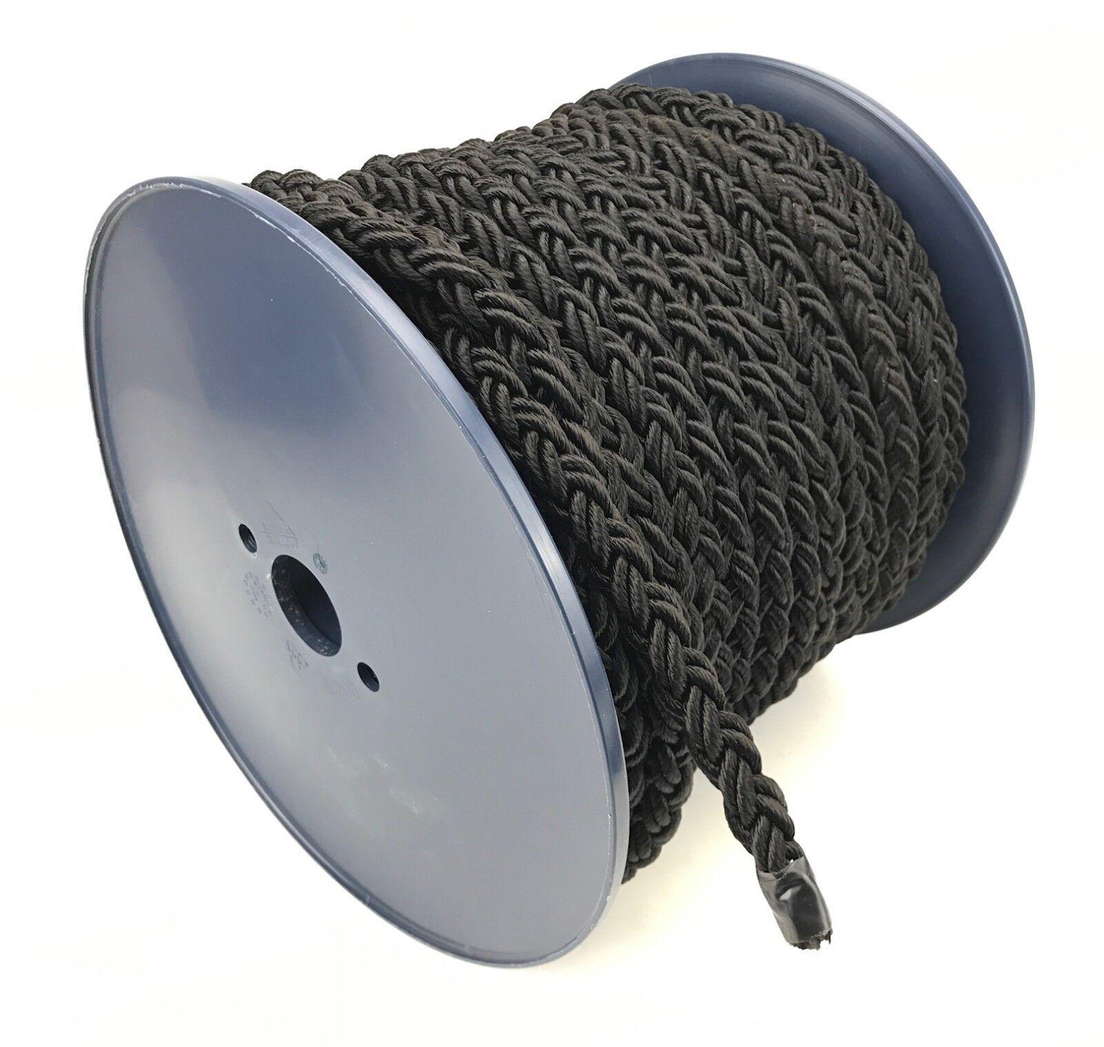 12mm 8 Strang schwarz Nylon Seil x 40 m m 40 Rolle, Liegeplatz Seil multiplait b9e9b5