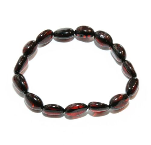 Genuine Baltic Amber Bracelet Adult Women Polished Bean Style Stretch