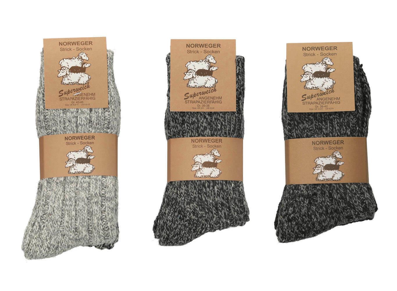 Norweger Socken grau Herren Damen 2 Paar gestrickte dicke warme Wintersocken