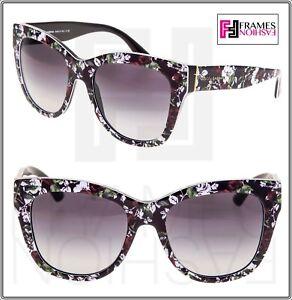 4578d2e789f9 DOLCE & GABBANA Rose Flower Print 4270 Black Oversized Sunglasses ...