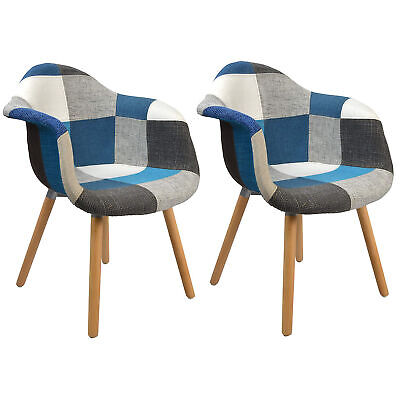 Set di 2 sedie poltrona con gambe di legno sedie da pranzo ...