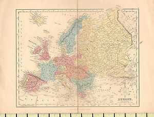 C1880 Map Europe British Isles Sweden Norway France Italy