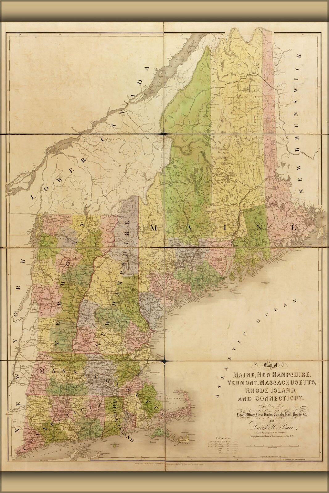 Plakat, Viele Größen; Karte von Maine, Neu Hampsire, Massachusetts 1839