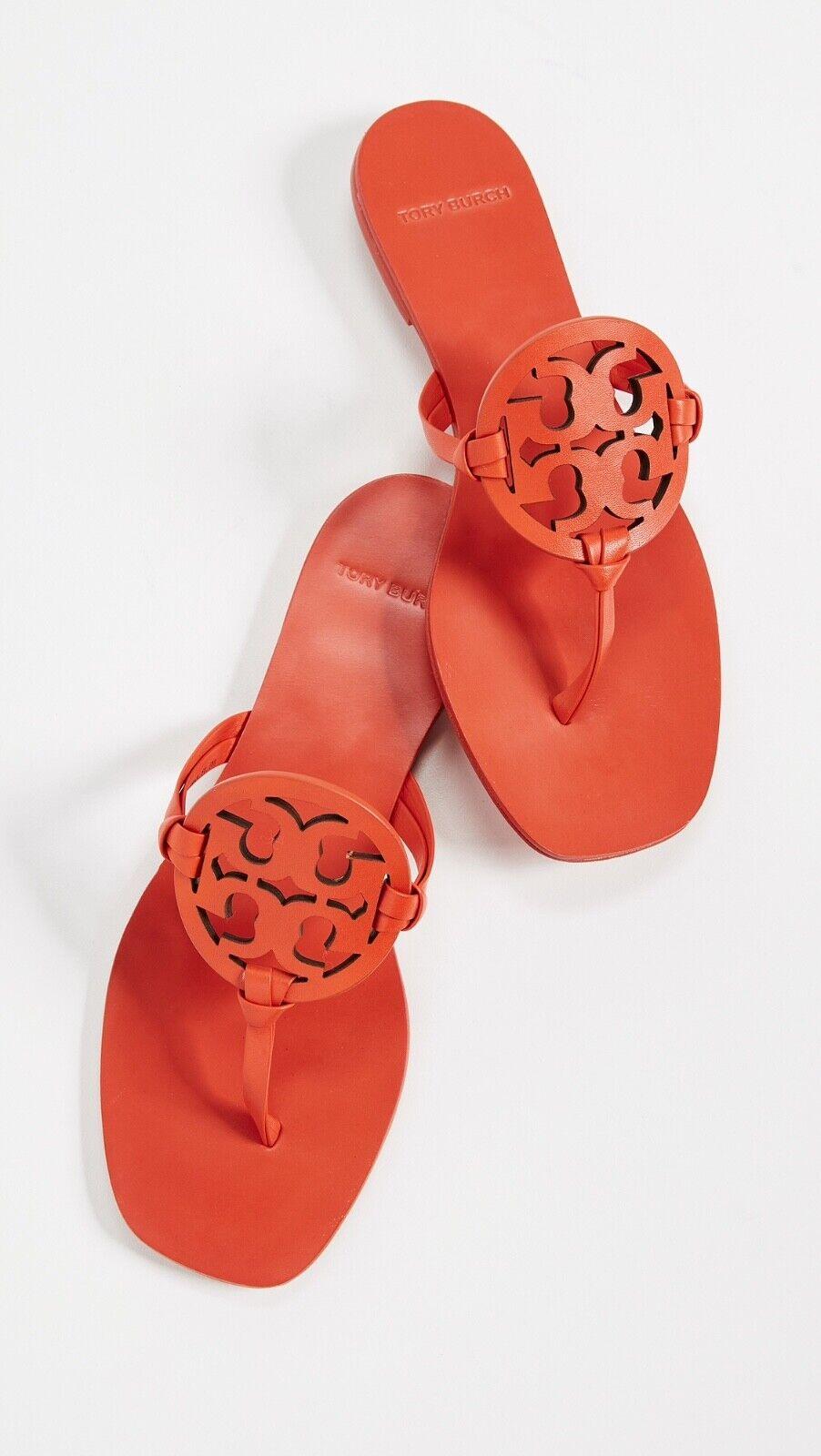 Nuevo En Caja  228 Tory Burch Puntera Cuadrada Miller Dulce Naranja Mandarina Flip Flop Talla 6.5