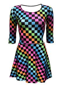 Women-039-s-Funky-Multi-Check-Squares-Checkerboard-Checker-3-4-Sleeve-Skater-Dress