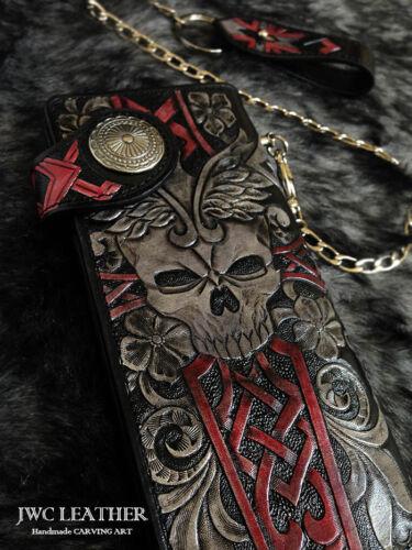 Cross skull  men biker long wallet handmade genuine leather L18