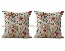 US SELLER- set of 2 pillow covers for sofa retro vintage floral cushion cover
