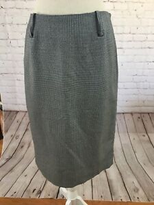 Anne-Klein-Skirt-Size-8-Black-White-Check-Straight-Side-Zip-Back-Slit-Great-Cond