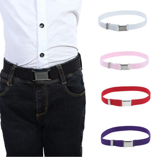 Child Kids Toddler Belt Elastic Adjustable Stretch Unisex Belts Silver Buckle