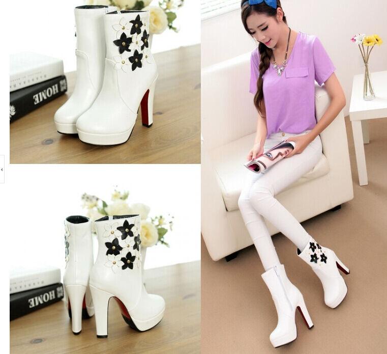 stiefel stiefel komfortabel hoch frau absatz 12 cm weiß blumenmuster 8784