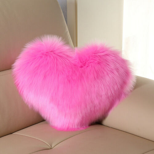 Heart Shaped Fluffy Faux Fur Plush Throw Pillow Case Shaggy Sofa Cushion Cover