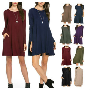 USA-Women-Casual-Long-Sleeve-Trapeze-Tunic-Dress-Side-Pocket-Loose-Fit-Top-S-XL