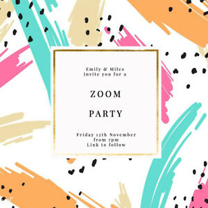 DIGITAL VIRTUAL FILE INVITE FOR ZOOM PARTY, DRINKS, BIRTHDAY, RETRO 80'S
